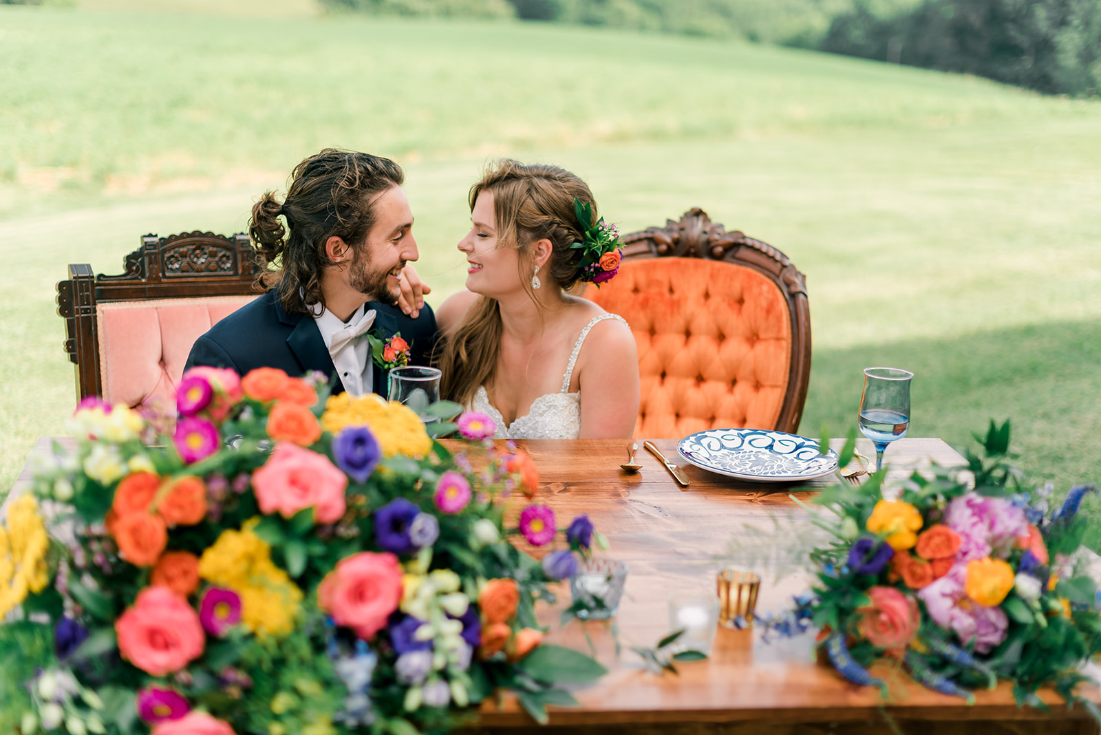 Fun & Colorful Barn Wedding Sweetheart Table at Heaven Sent Farms in Avella Dawn Derbyshire Photography  (3).jpg