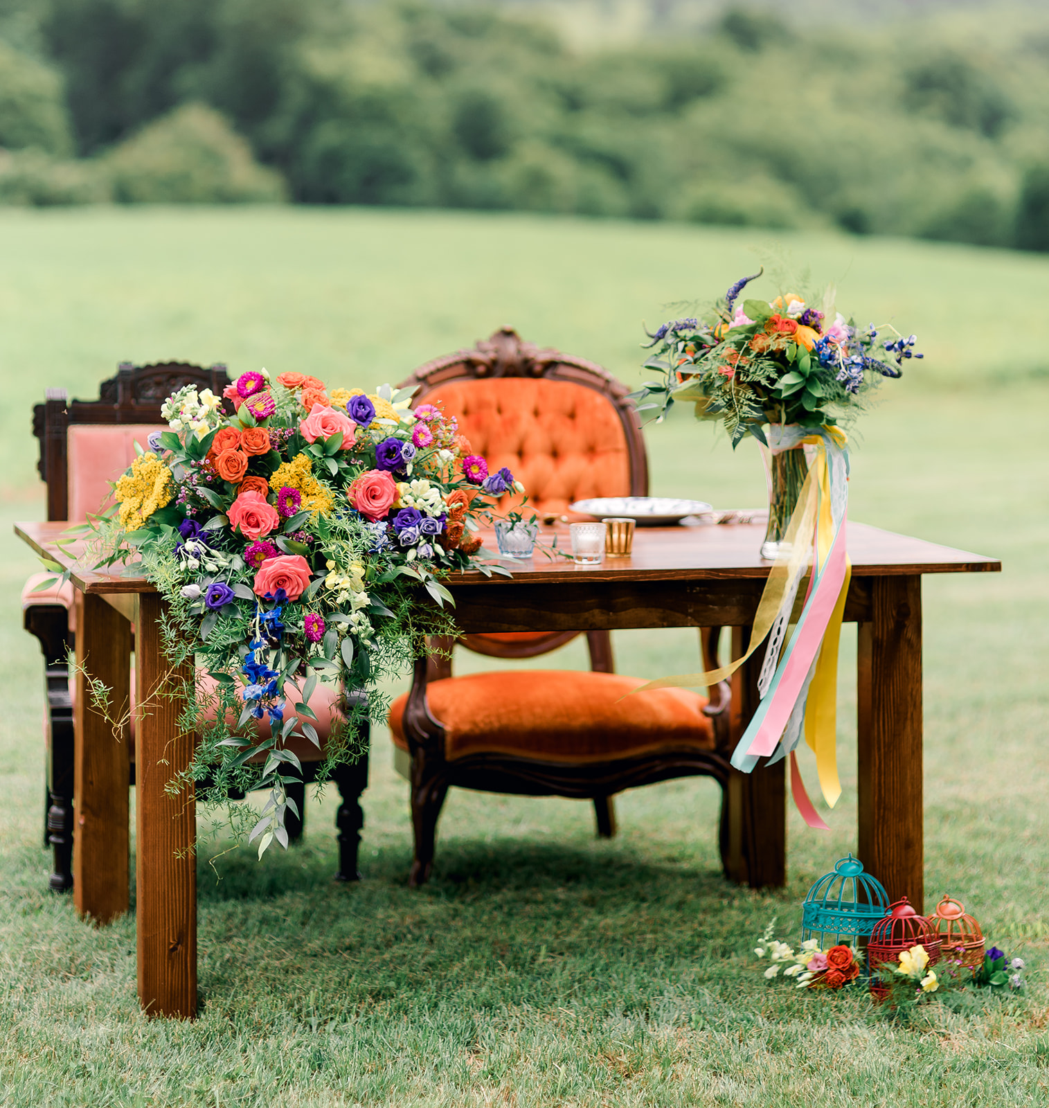 Fun & Colorful Barn Wedding Sweetheart Table at Heaven Sent Farms in Avella Dawn Derbyshire Photography  (12).jpg