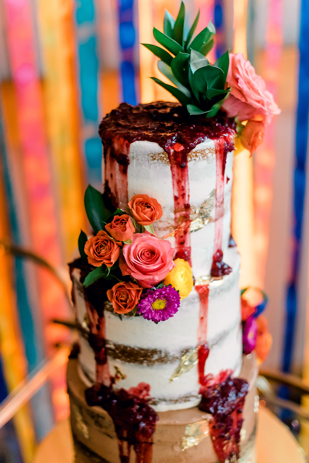 Fun & Colorful Barn Wedding Naked Cake with Flowers at Heaven Sent Farms in Avella Dawn Derbyshire Photography (4).jpg