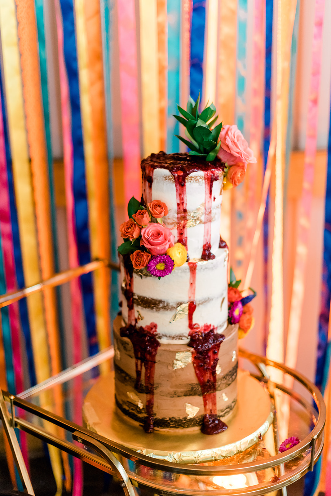 Fun & Colorful Barn Wedding Naked Cake with Flowers at Heaven Sent Farms in Avella Dawn Derbyshire Photography (3).jpg