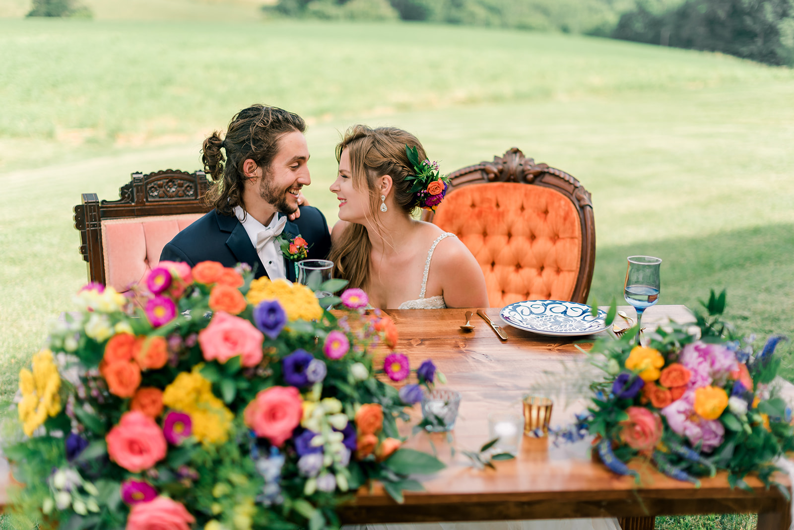 Fun & Colorful Barn Wedding Sweetheart Table at Heaven Sent Farms in Avella Dawn Derbyshire Photography  (1).jpg