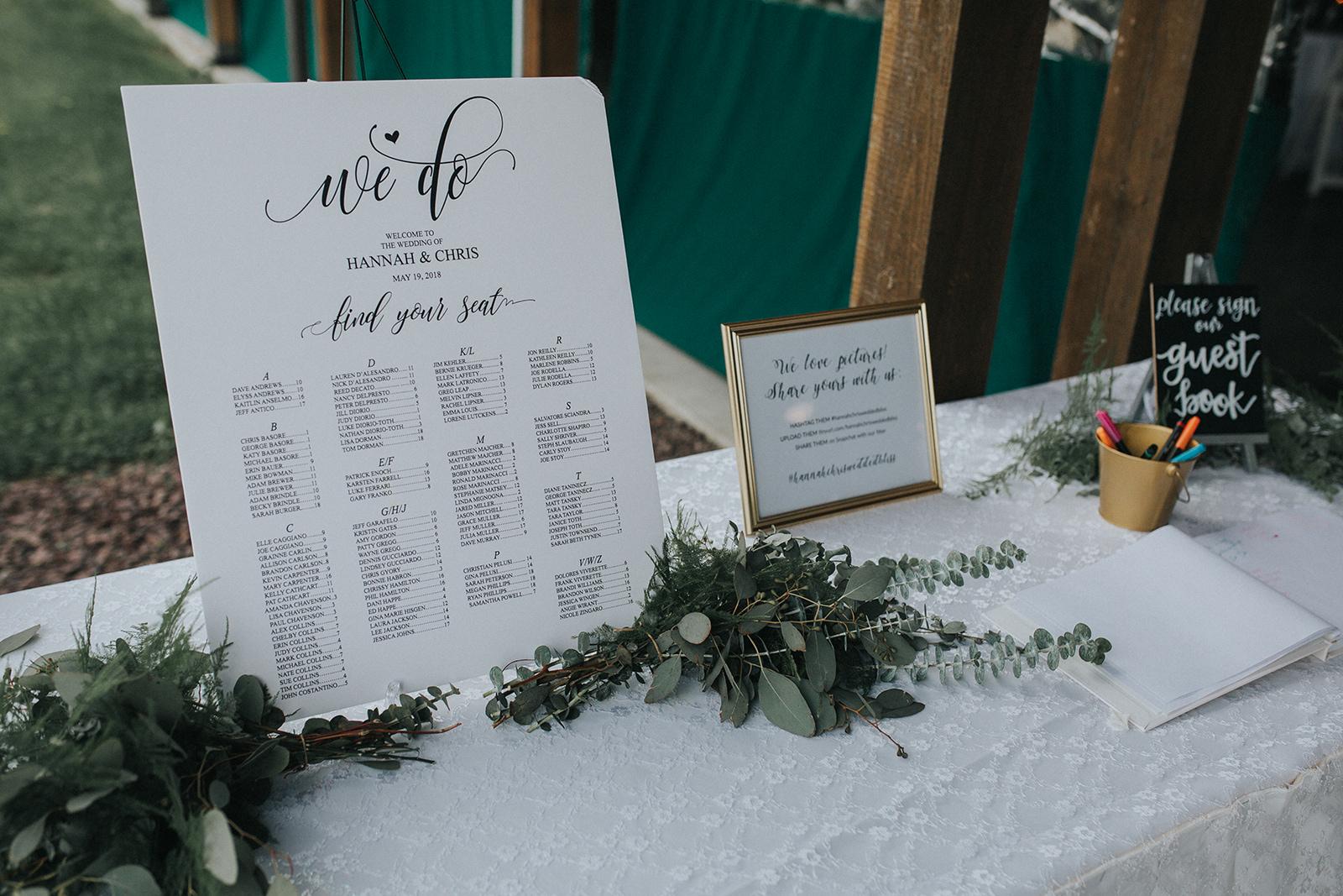 Seating Chart from Hannah + Chris's Rainy Day Wedding at SNPJ Resort