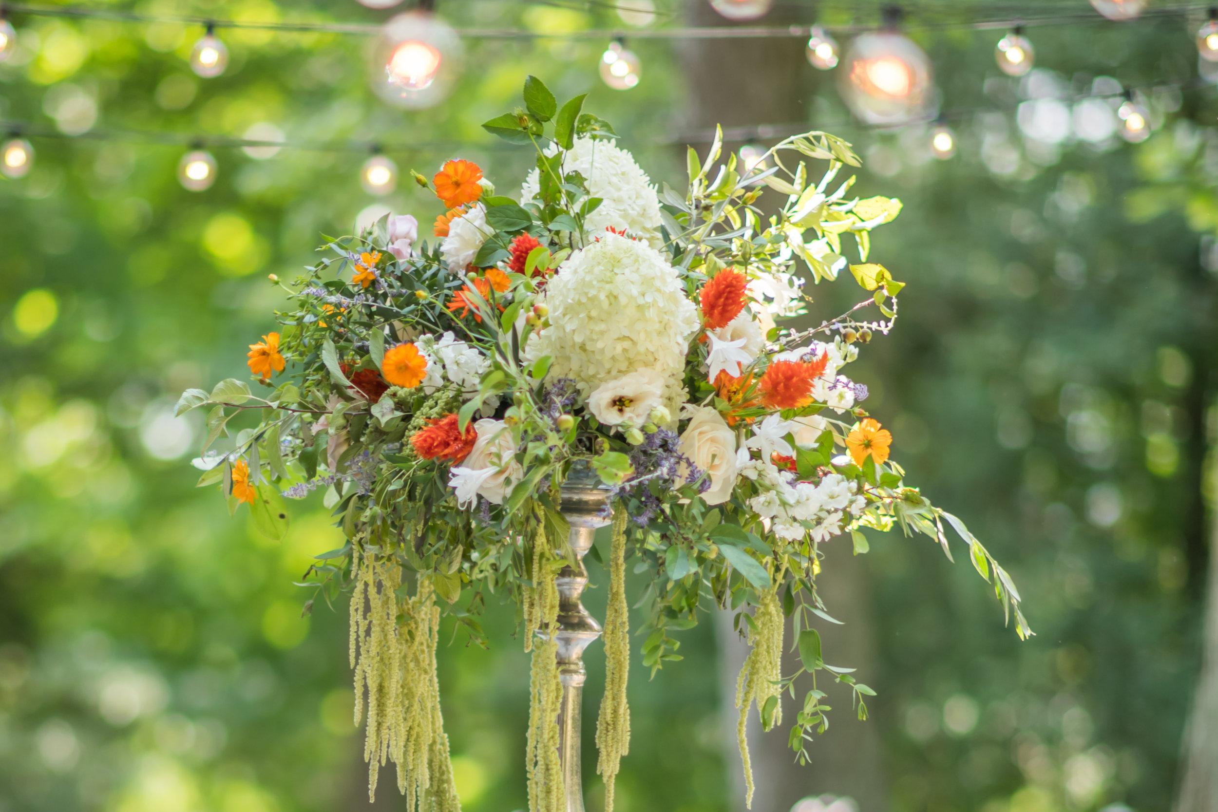 Pittsburgh Wedding Planner Mansion in Butler Orange Wedding Centerpiece