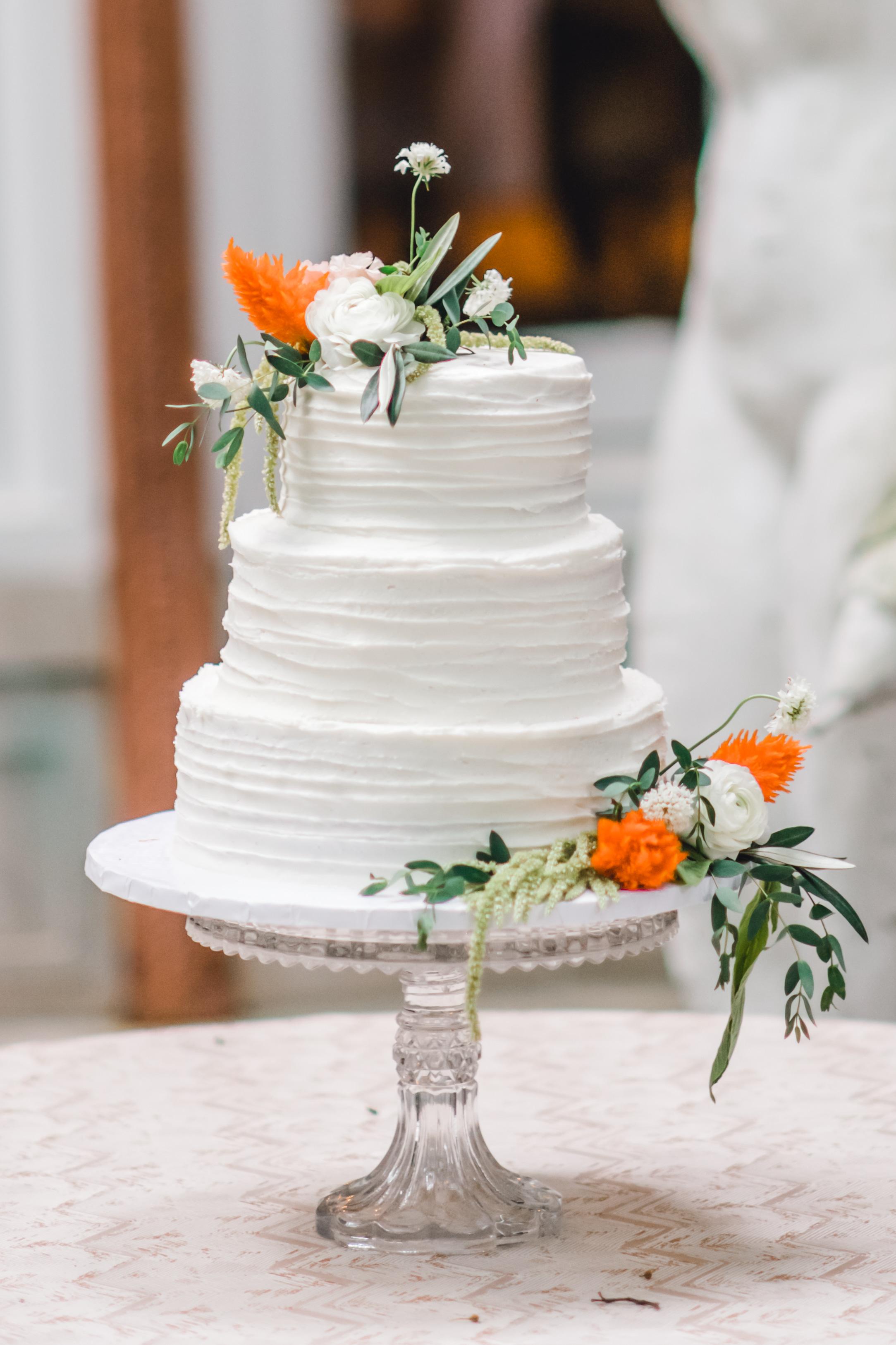 Pittsburgh Wedding Planner Mansion in Butler European White Buttercream Cake with Orange Flowers
