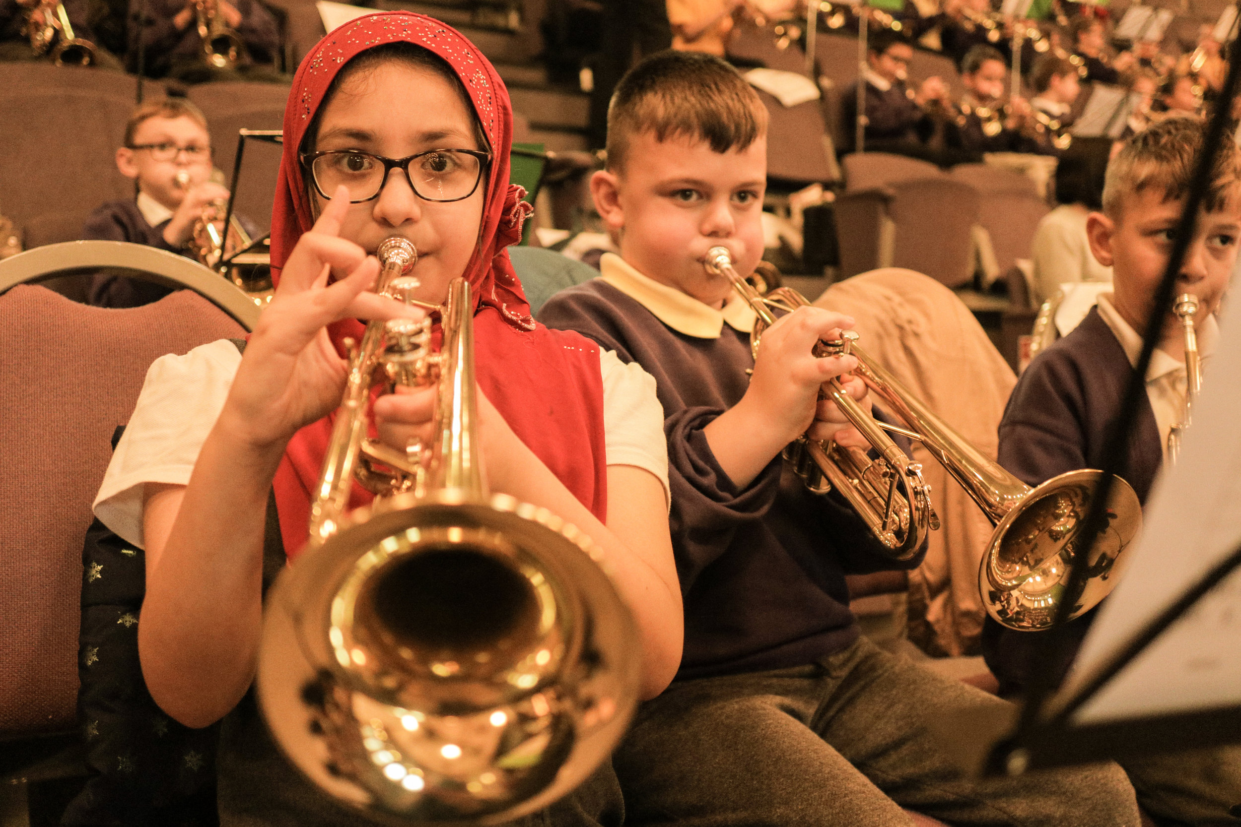 Young musicians, performing with the Chineke! orchestra at Central Hall in November 2017, as part of a partnership project with Turner Sims, Southampton.