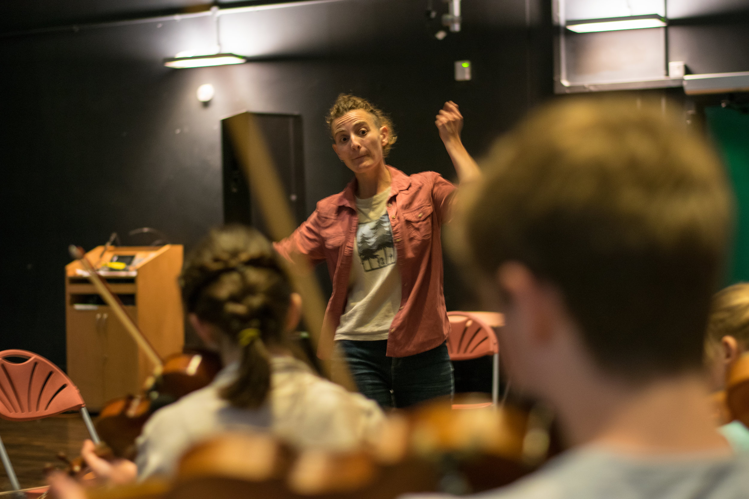 Folk musician Laurel Swift leads a workshop with Southampton's young string players
