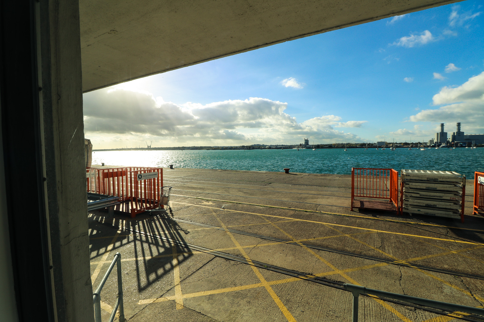 Views over the Solent provide the backdrop to a momentous rehearsal at Mayflower Cruise Terminal.