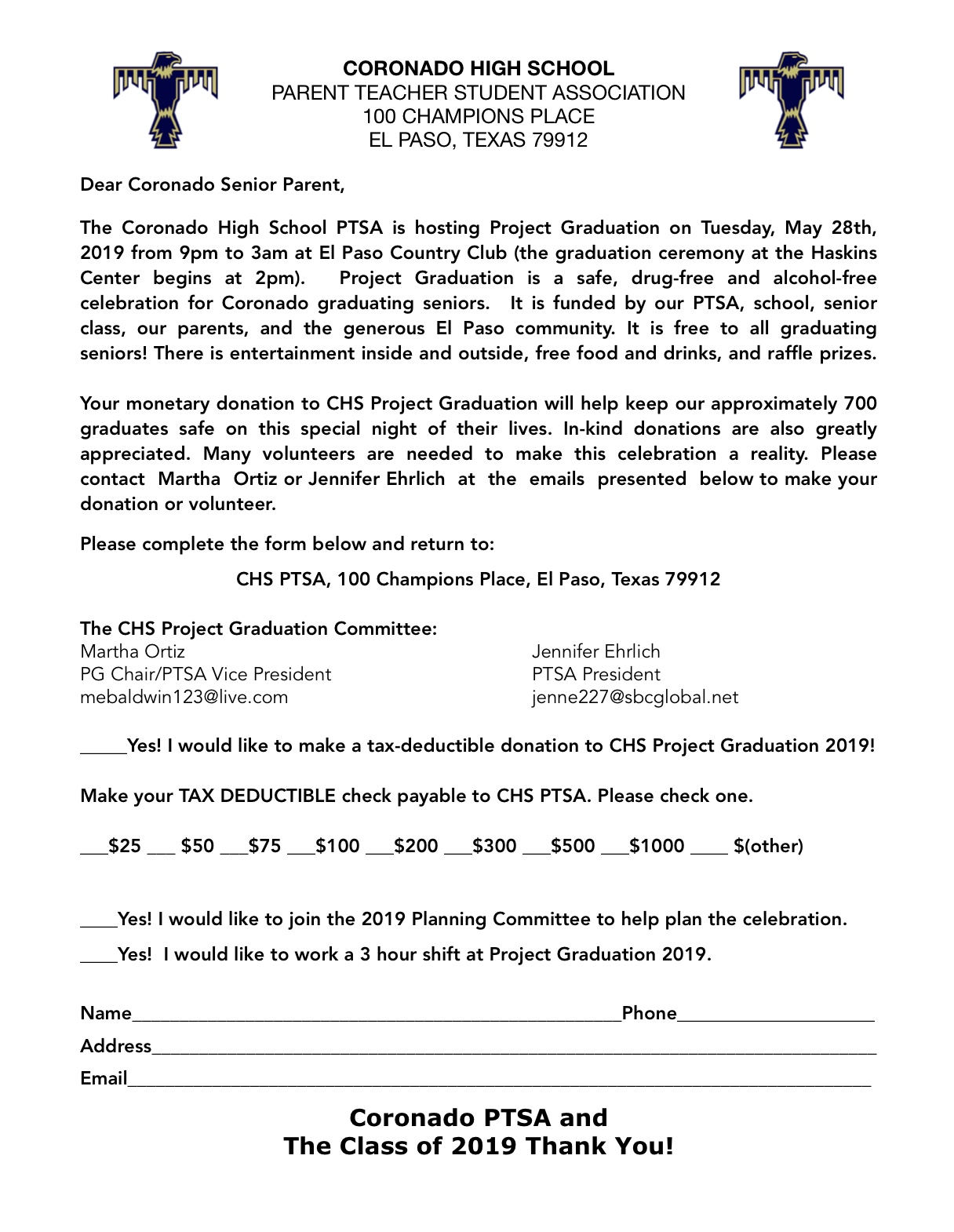 If you would like to help… - Please complete the form to the right and return it to us as soon as possible.We want them to have a night full of fun and prizes but it is dependent on the money raised. The Tier for Donors are:Diamond-$1000 and upPlatinum-$500-$999Gold-$250-$499Silver-$100-$249Bronze-$25-$99Spread the word to businesses and family members that might be interested.If you have any questions please email Martha Ortiz @ mebaldwin123@live.comThank you again!!Stay tuned for important meetings coming soon!