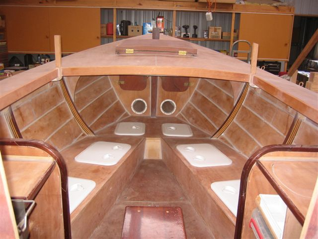3. Cabin interior with foredeck in place. 31-8-09.JPG