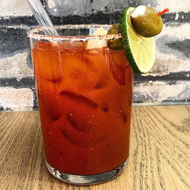 It's Sunday: and we feel as though bloody Mary's we're made for this day. Come in and try our house reciped bloody o put down with #brunch #kegandcasemarket #olives #stp #gaztaandenhancements #gazta #kegandcase #visitstpaul #minnesota #foodhall #cheese
