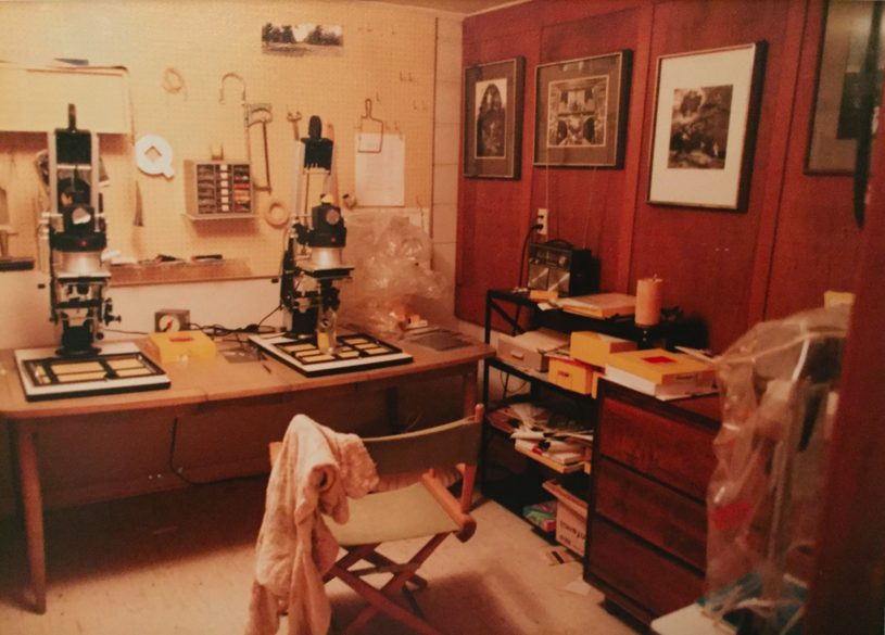 My darkroom, circa 1979 (high school-era). Note 3 enlargers and the wall of Uelsmann prints.