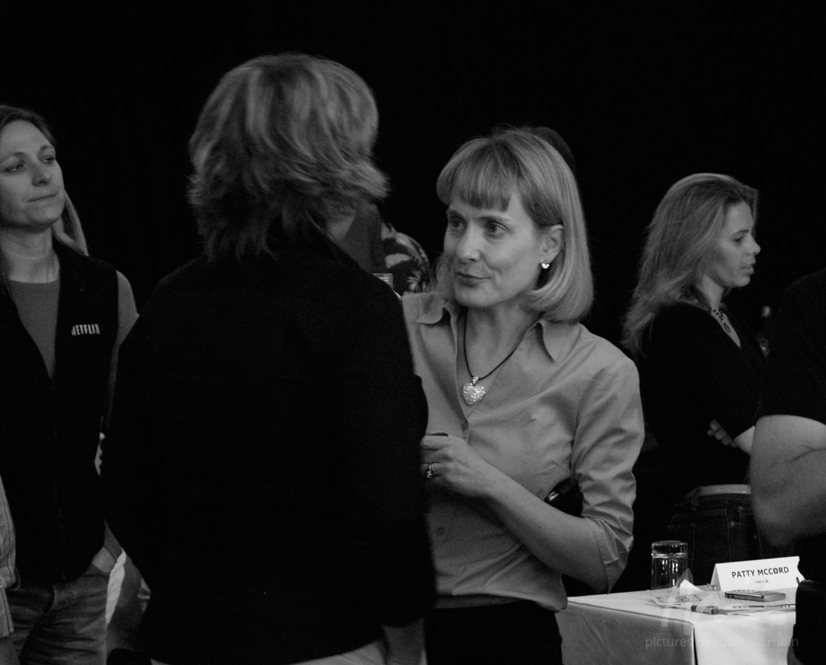 CMO Leslie Kilgore, creator of the famous red envelope and brand (chatting with Patty McCord) and flanked by content VP Cindy Holland (left) and Tawni Cranz (right). [Sept. 2007]