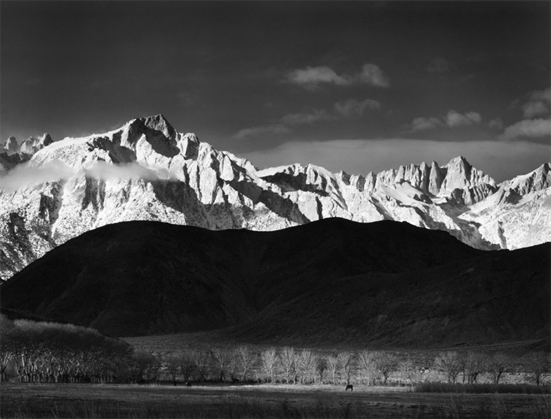 Winter Sunrise, Lone Pine, by Ansel Adams (1940)