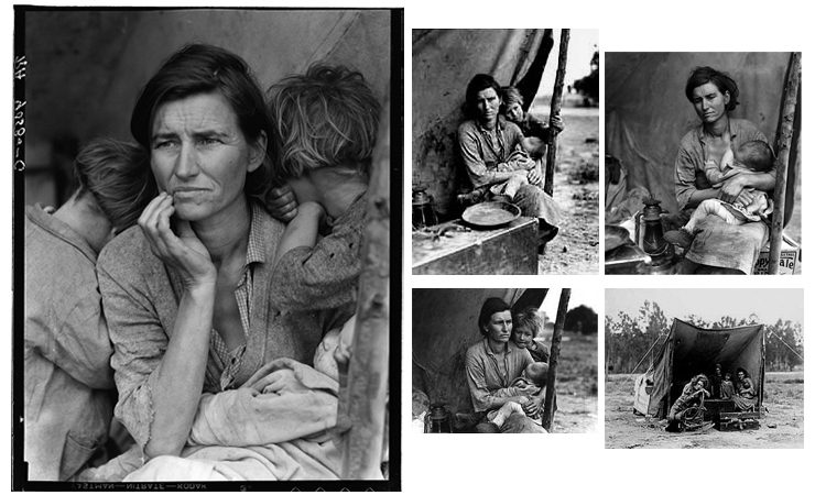 "Dorthea Lange, ""Migrant Mother"" (1936) — and other shots from that shoot."