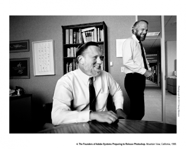 """Doug Menuez, """"The Founders of Adobe Systems Preparing to Release Photoshop. Mountain View, California"""" (1988)"""