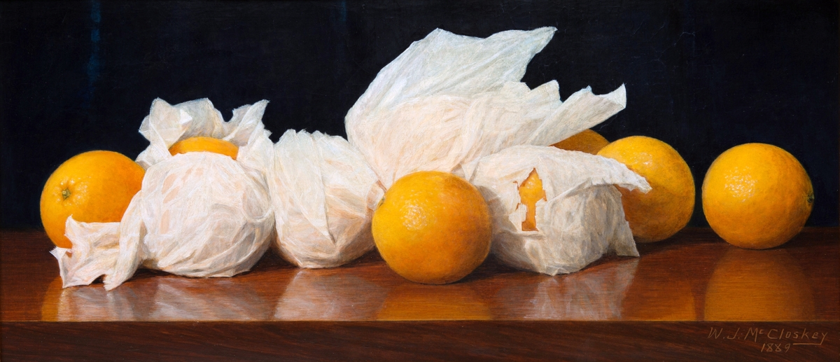 "William Joseph McCloskey's 1890 trompe l'oeil still life ""Oranges in Tissue Paper"""