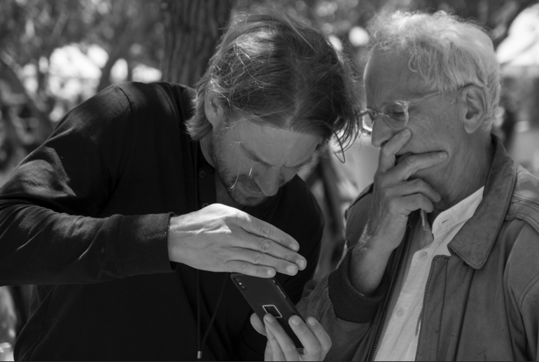 Burnett (at right) with Peak Design founder Peter Dering (by Rubin, Carmel, 2019)