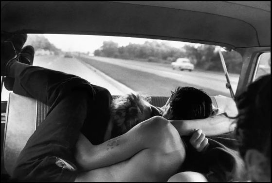 "Bruce Davidson "" Brooklyn Gang"" (couple necking in car) ( 1959)"
