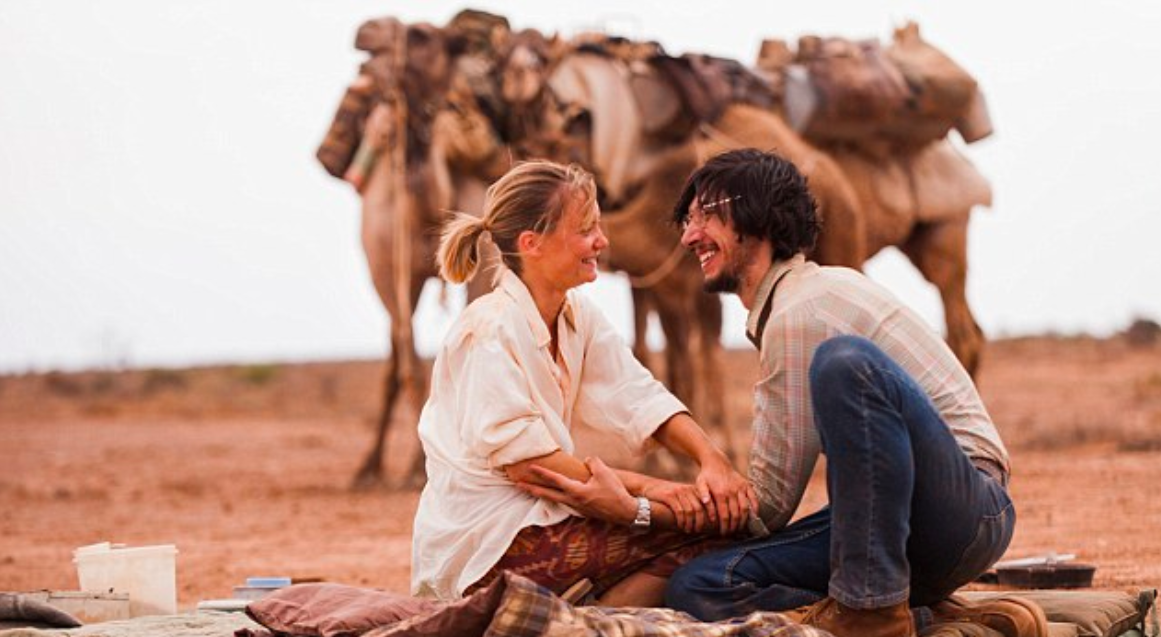 "Movie still (by photographer Matt Nettheim )  from ""Tracks"" - Robyn Davidson and photographer Rick Smolan (played by Wasikowska and Driver)"