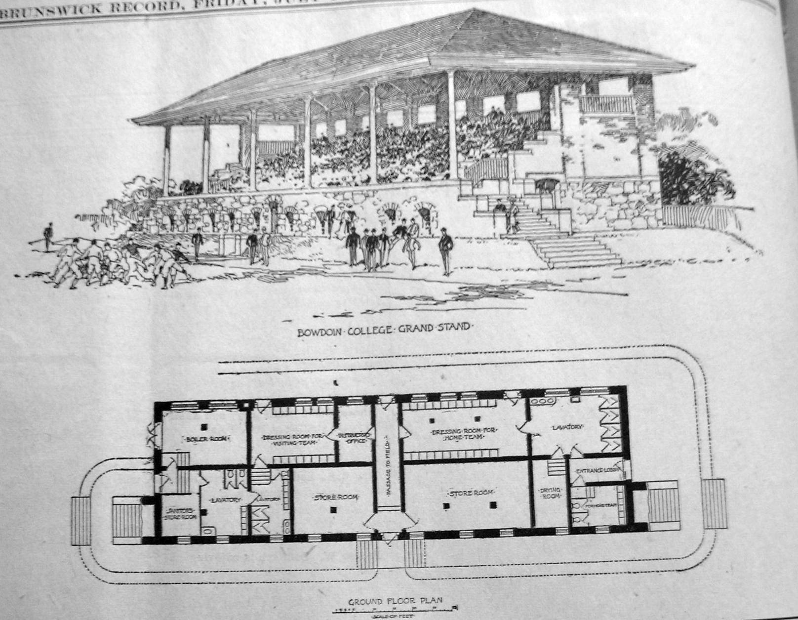 Brunswick Record rendering and plan of grandstand 7.10.03 2A.jpg