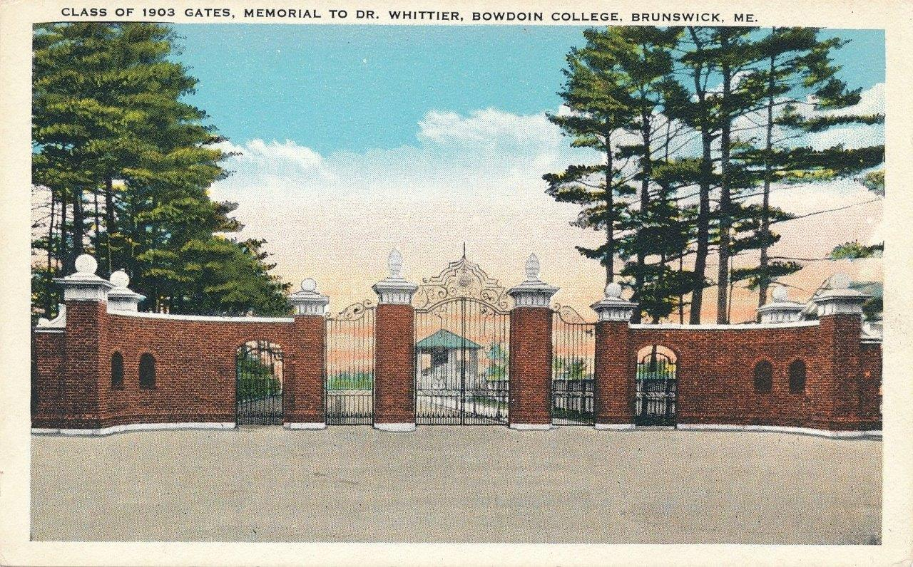 Class of 1903 Gates, Memorial to Dr. Whittier postcard, c. 1920's.jpg