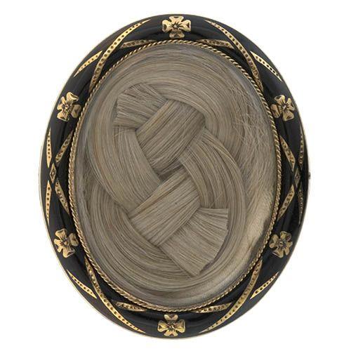 Brooch - Gold, black enamel, braided hair.