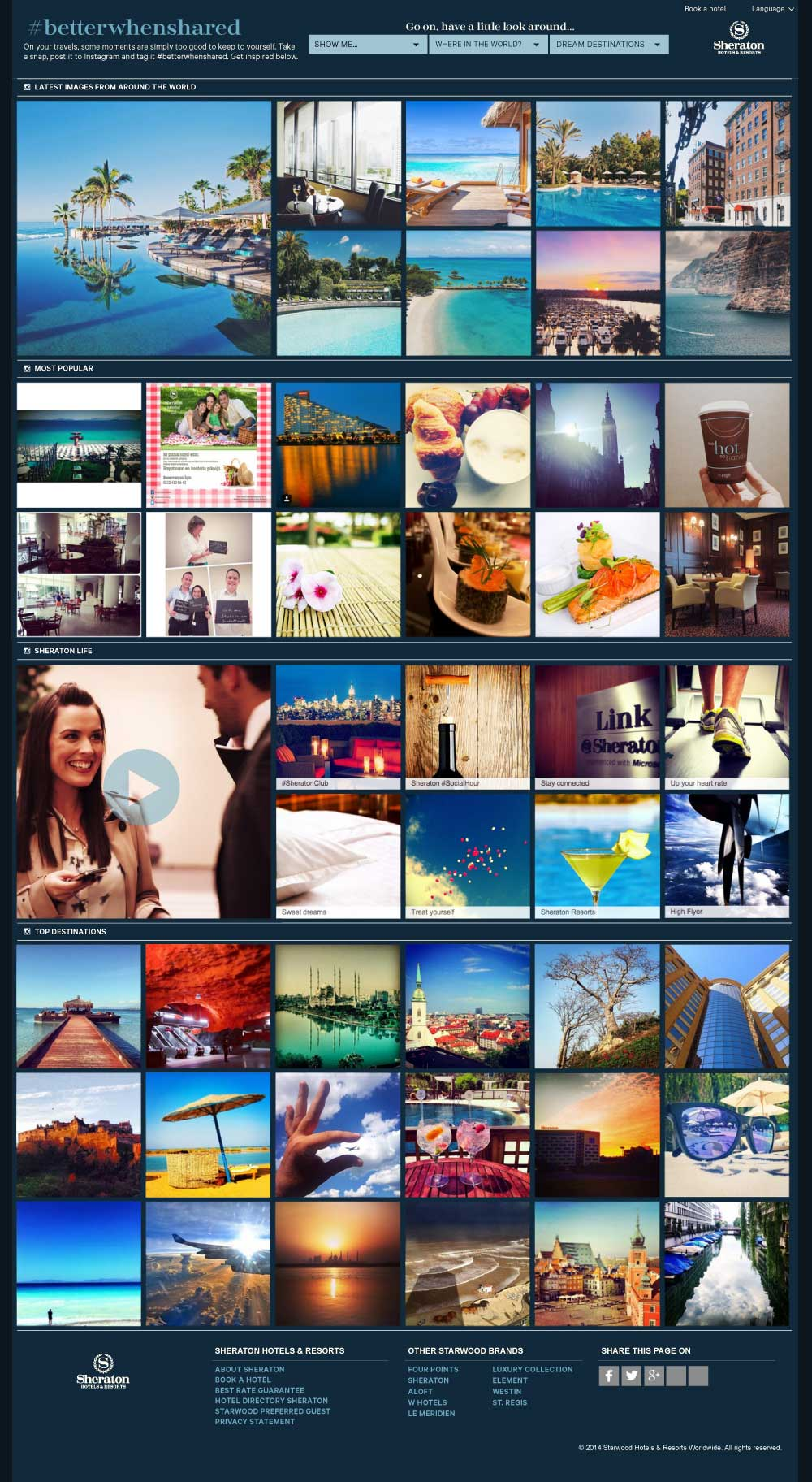 The collage would also incorporate video content which were filmed by our team in Edinburgh at the Sheraton Hotel. Once in a destination users were prompted to book.