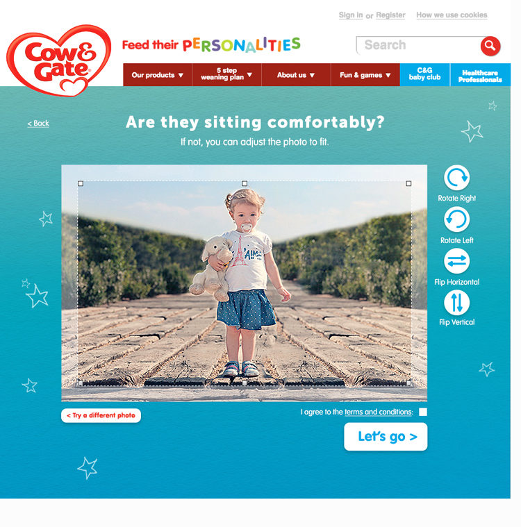 Users are invited to upload and crop and image of their wee ones.