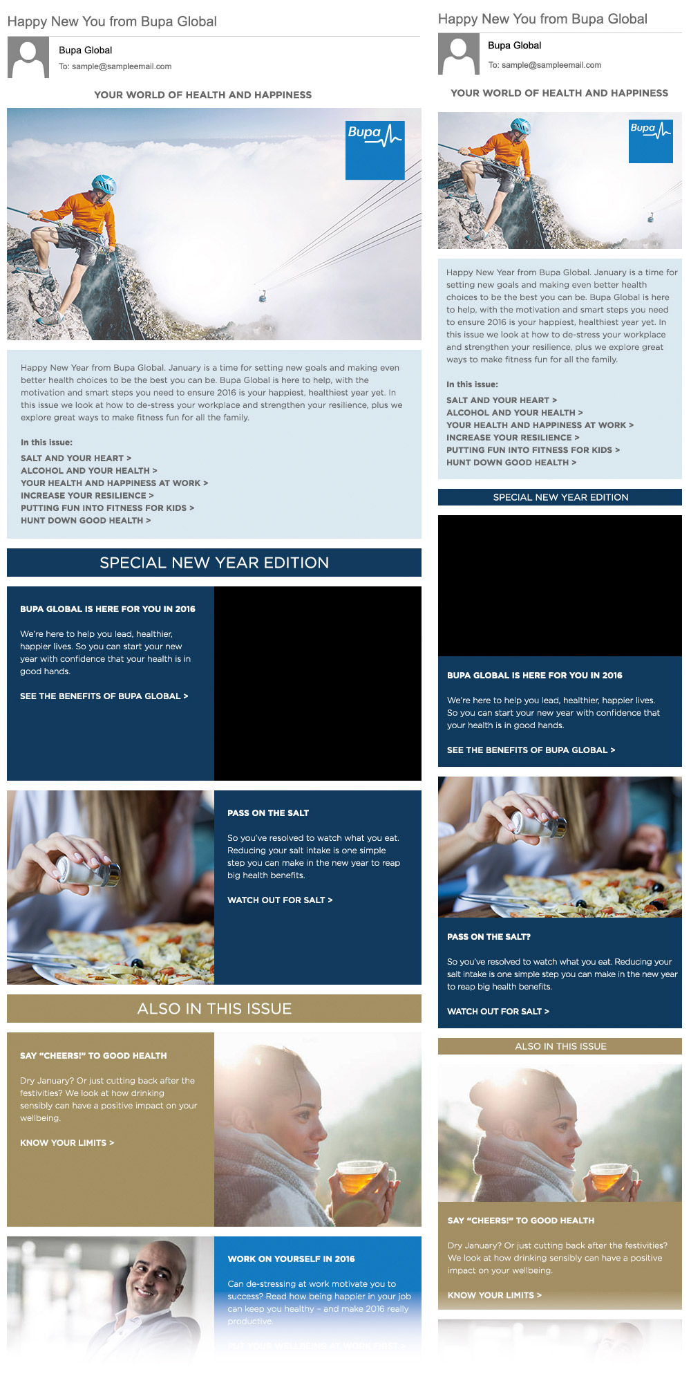Email newsletter template designs mocked up for desktop and mobile for client approval.