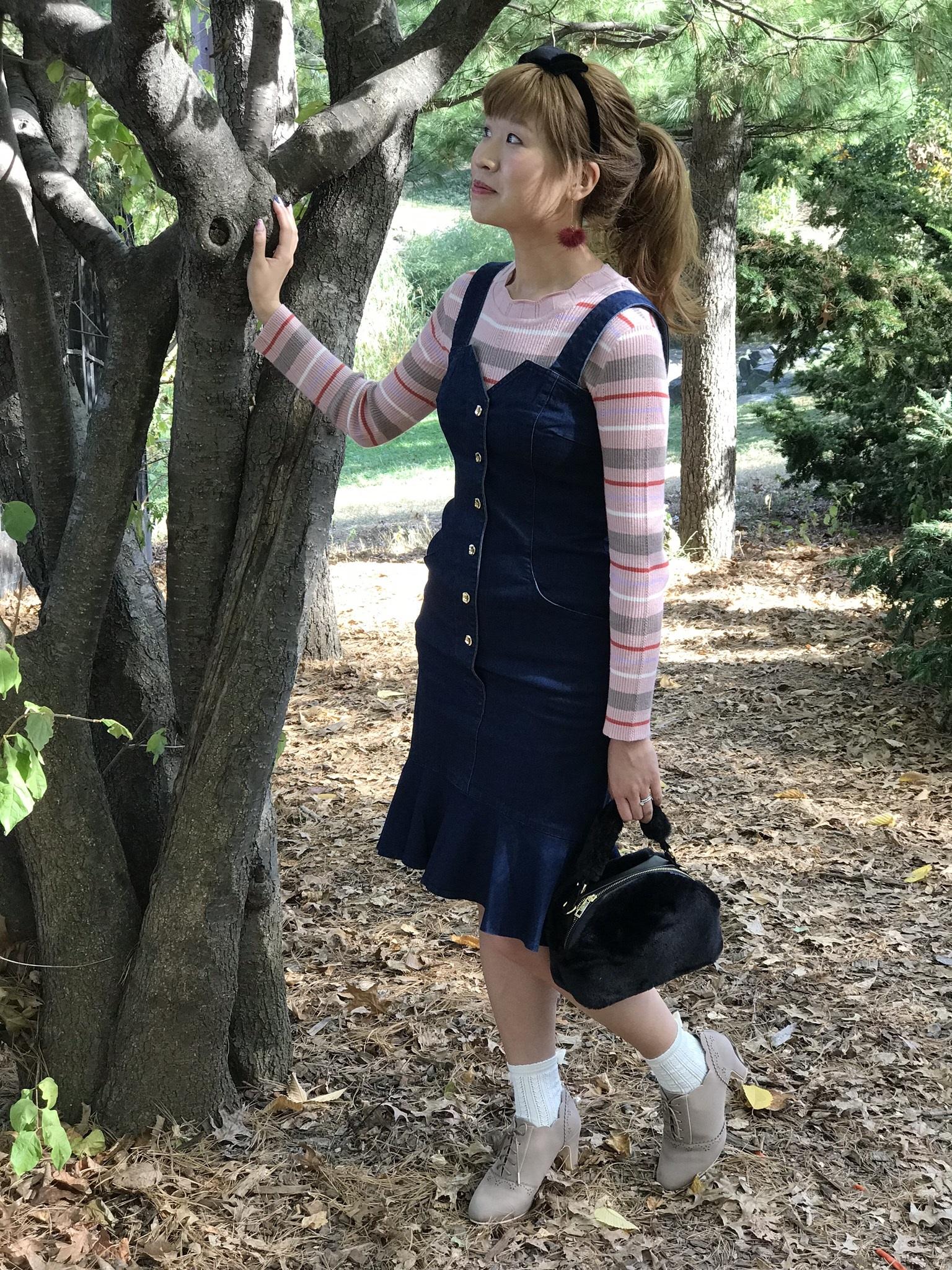 Top: dazzlin; dress: dazzlin; bag: MAJESTIC LEGON; headband: LODISPOTTO; shoes: LODISPOTTO; socks: tutuanna.