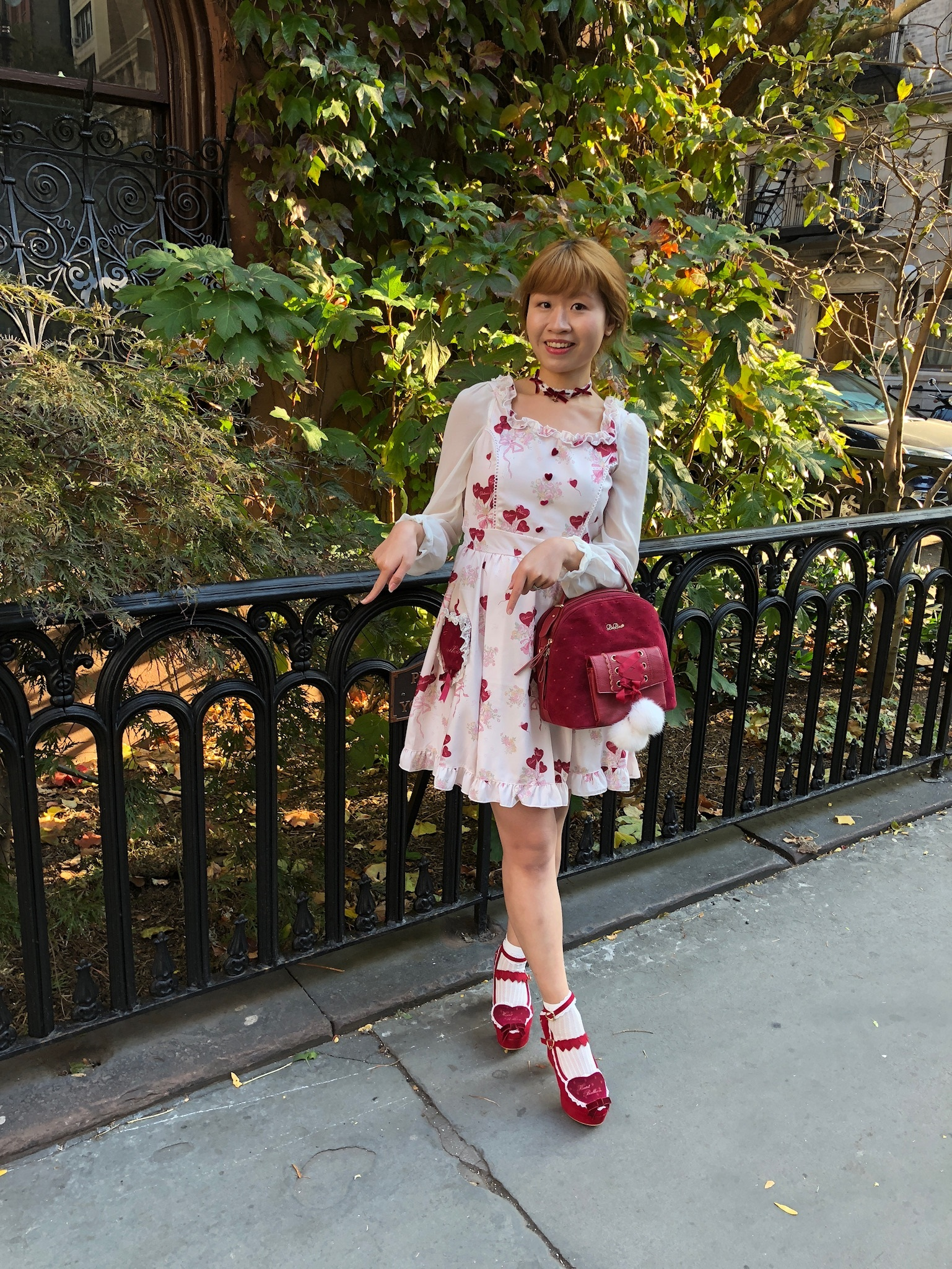"""Dress, bag, shoes, necklace: LIZ LISA. Me trying to do the """"Heart heart"""" dance."""