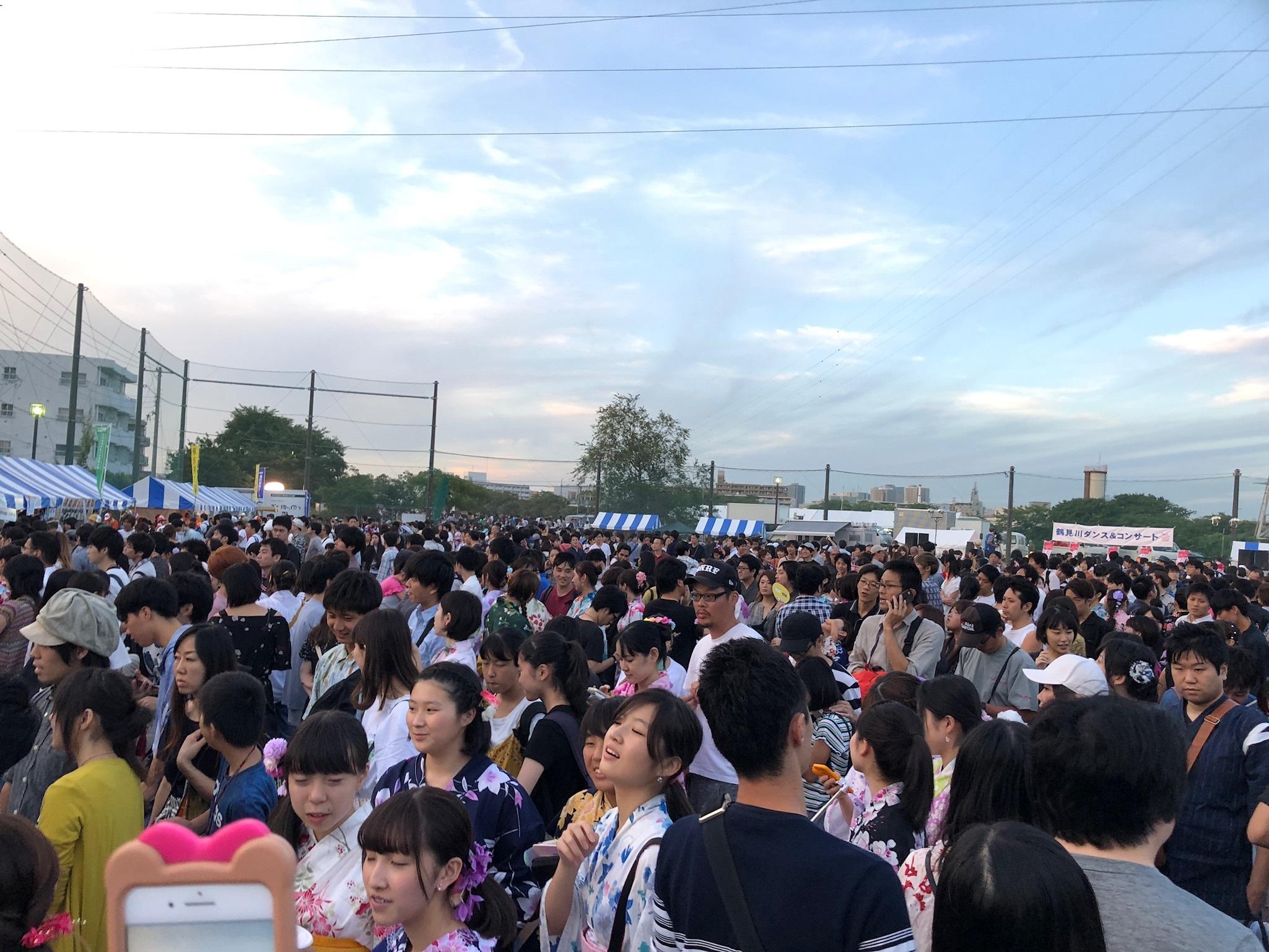 The crowd at the Tsurumi firework festival.