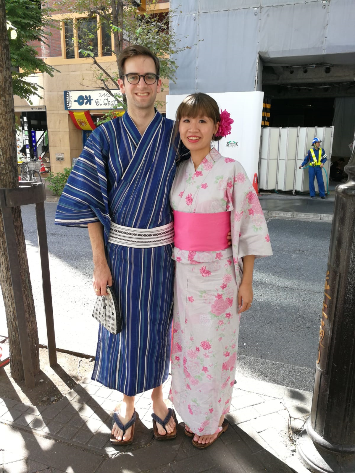My husband and I standing in front of the building where our VASARA outpost was in Ginza.