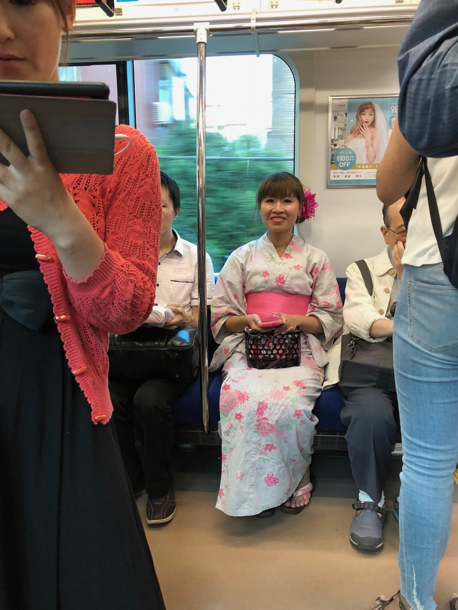 On the train to the omatsuri in Tsurumi, a ward in Yokohama.