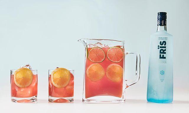 Pour. Serve. Party. -- Madras Punch 1 part Frïs Vodka 2 parts cranberry juice  1 part orange juice 1 lemon 1 lime  Combine Frïs Vodka, cranberry juice, and orange juice in a pitcher. Stir and garnish with lemon and lime slices.