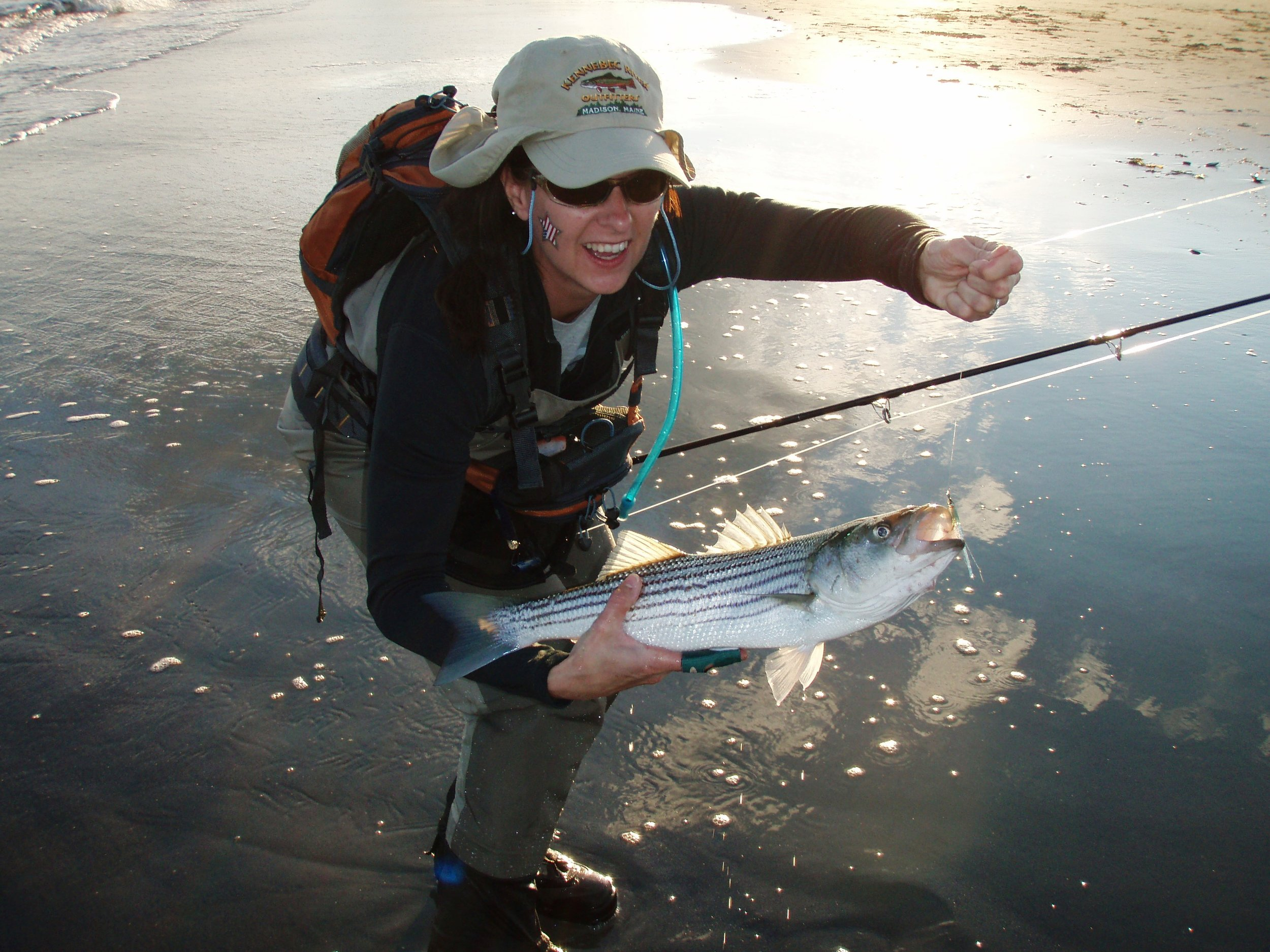 Diana Mallard with Surf Caught Striper (Bob Mallard) (2).JPG