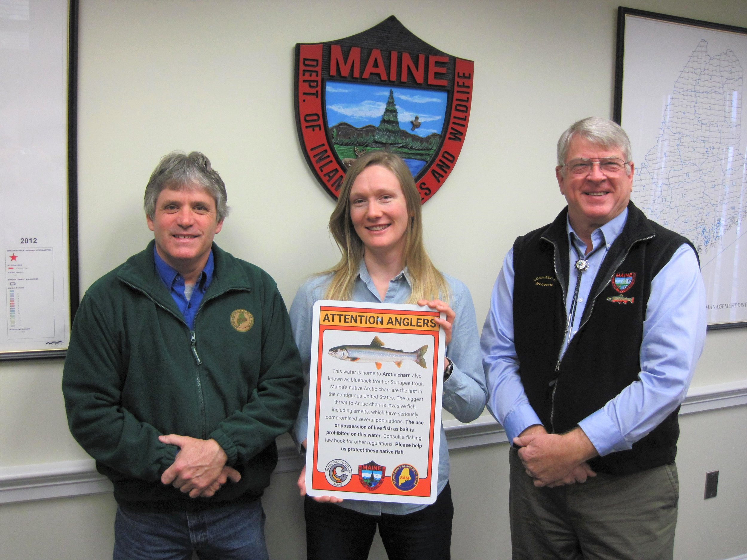 Sportsman's Alliance of Maine Executive Director David Trahan, Maine NFC Chair Emily Bastian and  Maine Department of Inland Fisheries and Wildlife Commissioner Chandler Woodcock.