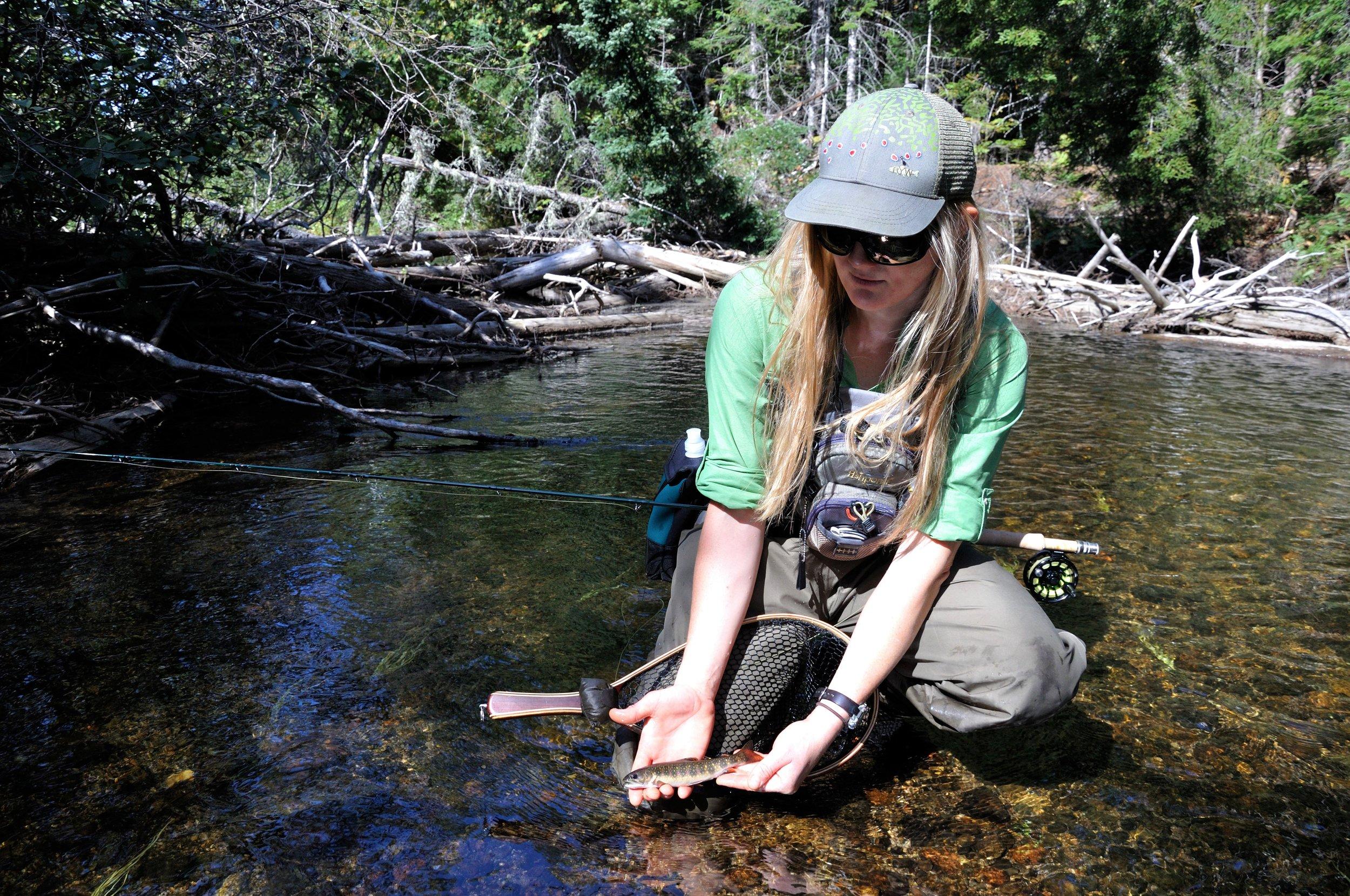 NFC Member Emily Bastia with Native Brook Trout (Katahdin Woods and Water National Monument, ME) Bob Mallard.JPG