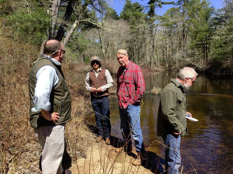 Members of Narragansett chapter of Trout Unlimited and Protect Rhode Island Brook Trout at RI's Wood River.