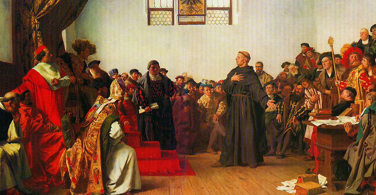 Martin Luther standing before the Holy Roman Emperor, Charles V, at the Diet of Worms, 1521