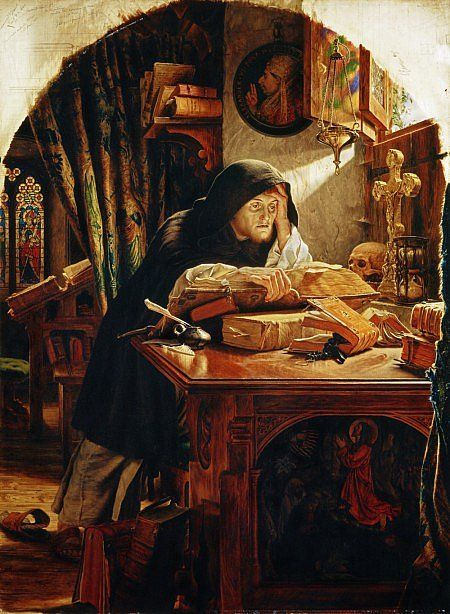 Martin Luther studying the Bible.