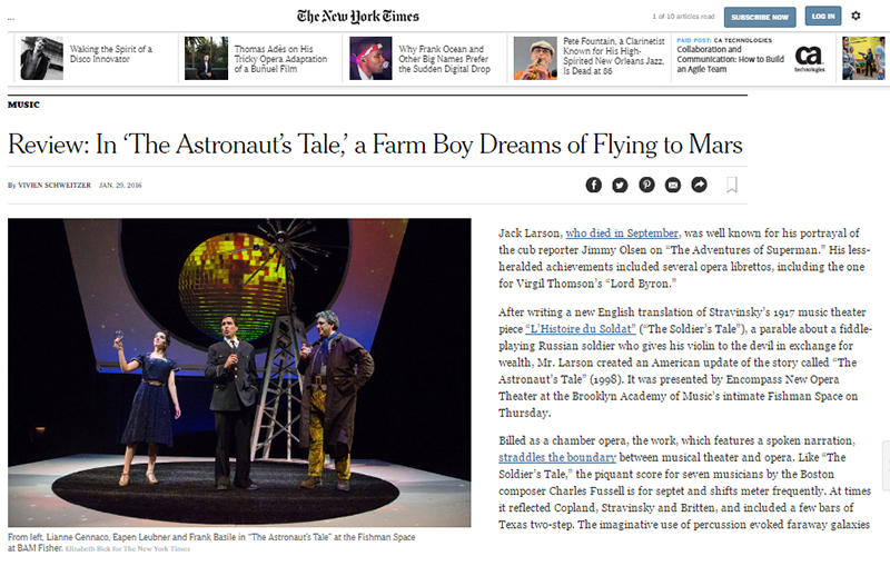 Review: In 'The Astronaut's Tale,' a Farm Boy Dreams of Flying to Mars   By Vivien Schweitzer,  The New York Times  January 29, 2016 for   The Astronaut's Tale