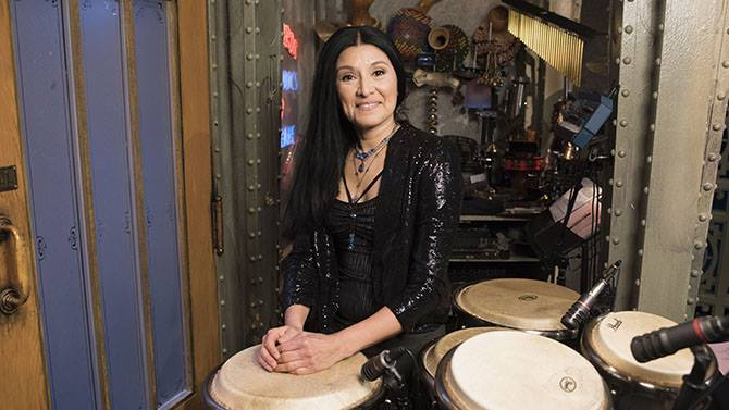 Valerie Naranjo plays percussion for NBC's Saturday Night Live, was named World Music Percussionist of the Year in 2005 and 2008. She has recorded with Broadway's The Lion King, the Philip Glass Ensemble, David Byrne, The Paul Winter Consort, Tori Amos, Airto Moreira, MEGADRUMS, among many others.
