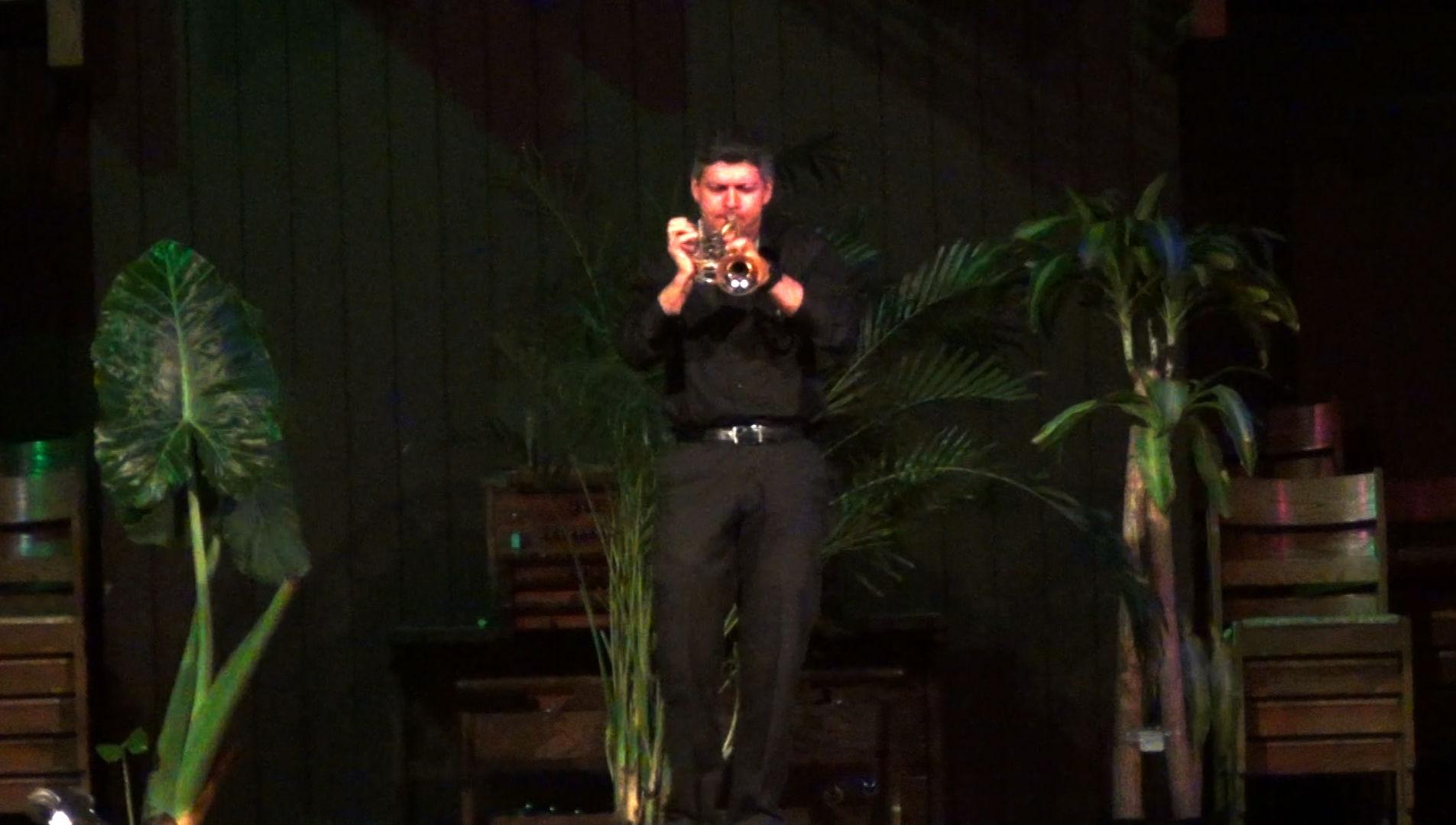 "David Glukh, trumpeter, performing ""Miserlou,"" an improvisation based on Greek Folk Melody."