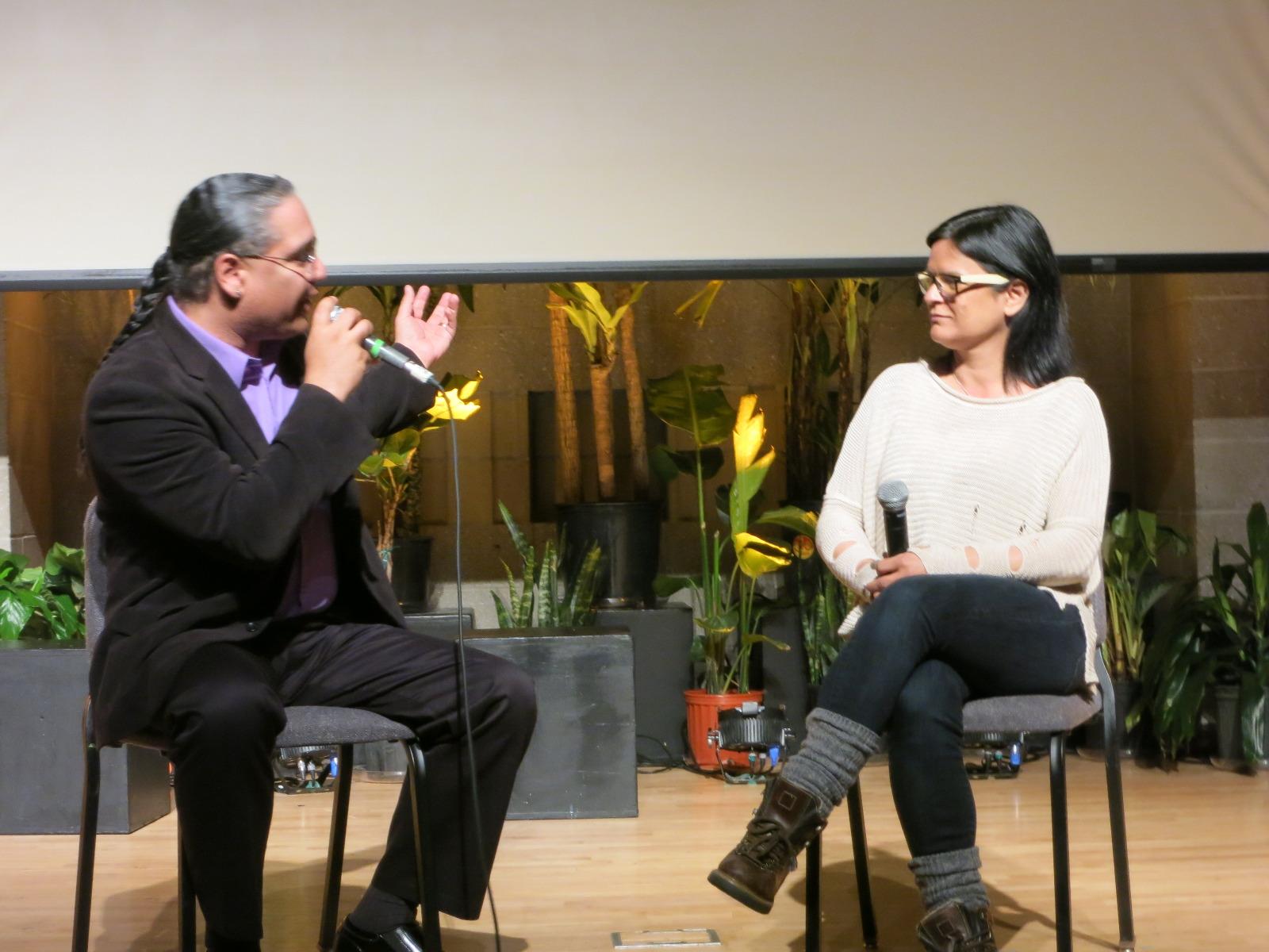 Roberto Borrero interviews Georgina Lighting after the screening of her film,  OLDER THAN AMERICA.