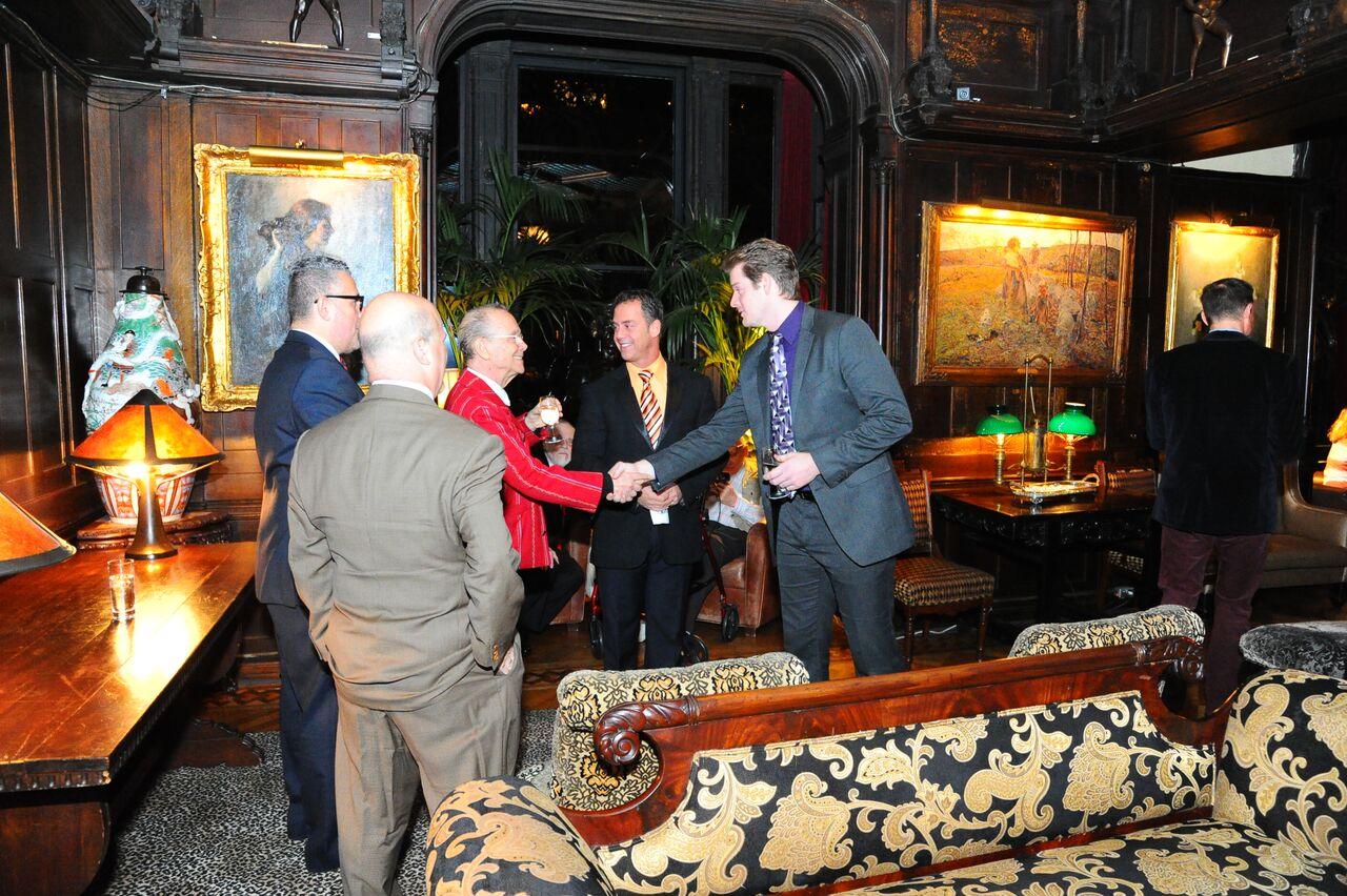 Michael Portantiere, Rick, Joel, Bruce, guest in upholstered room.jpg