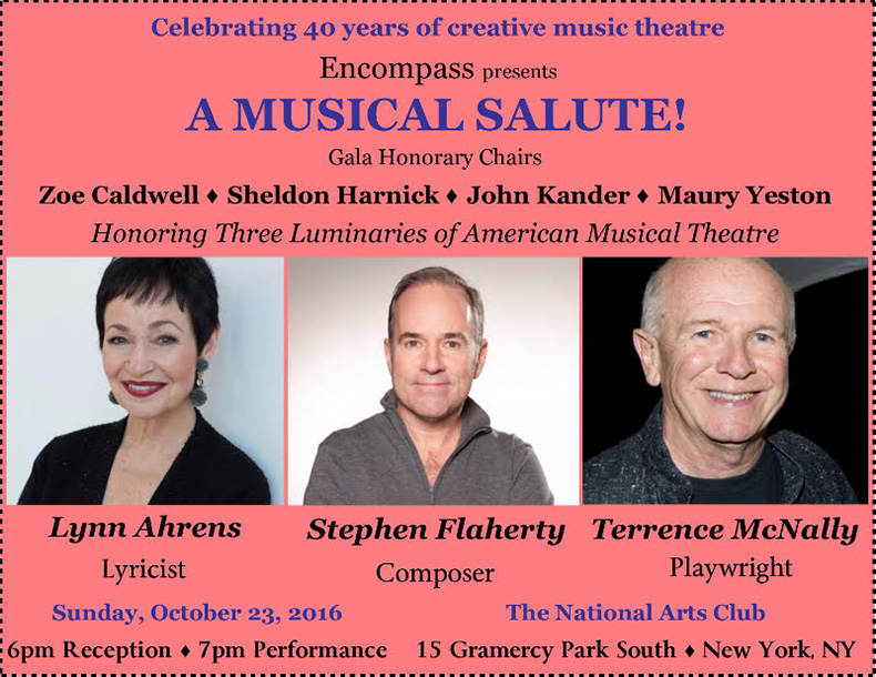 A Musical Salute!2016 - Honoring Lynn Ahrens, Stephen Flaherty and Terrence McNally