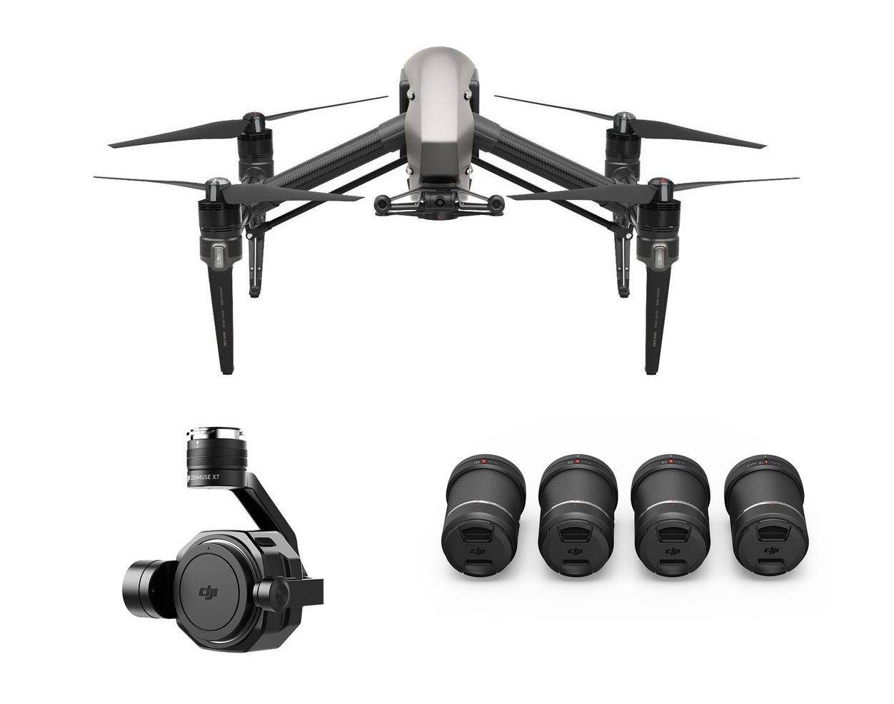 DJI Inspire 2 with X7 Camera - Full Inspire2 X7 package. Lenses 16mm, 24mm, 35mm and 50mm. Other cameras and lens options available.