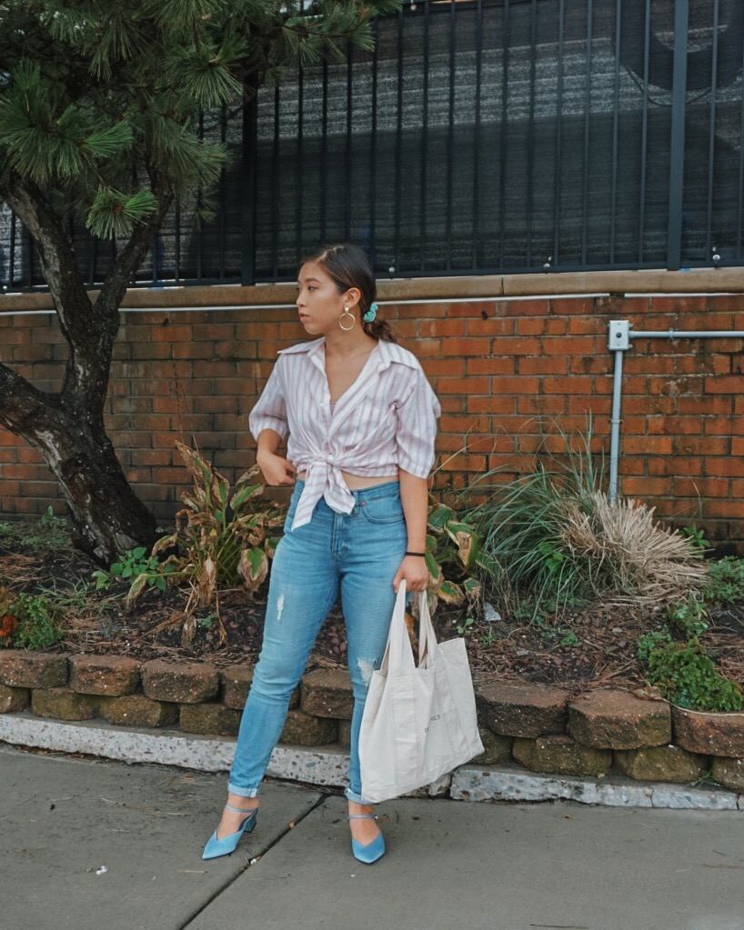 Thrifted Button Down Shirt//  Madewell Jeans  // Charles & Keith Metallic Heel Mules // Free People Earrings  (Similar Style)
