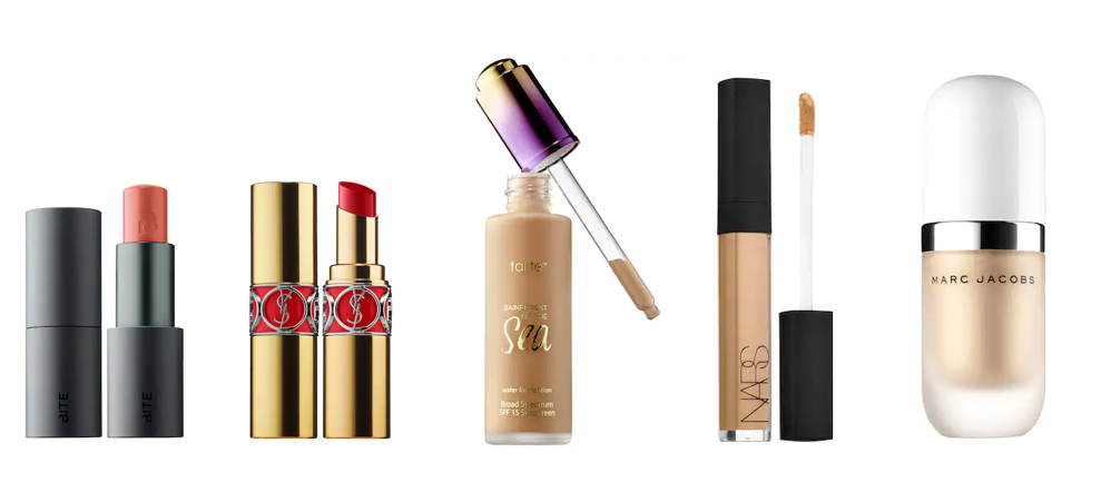 Bite Beauty Lipstick:  http://bit.ly/2PLnJTA    YSL Lipstick:  http://bit.ly/2PbKoY4   Tarte Water Foundation:  http://bit.ly/2PP5BrZ   NARS Creamy Concealer:  http://bit.ly/2PSUjmO   Marc Jacob Beauty Coconut Dewy Highlighter:  http://bit.ly/2woU5eS